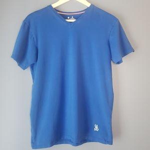 Psycho Bunny v neck t-shirt blue sz S